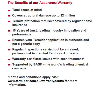 Termidor-warranty